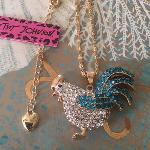 Betsey Johnson Blue Rooster Rhinestone Necklace